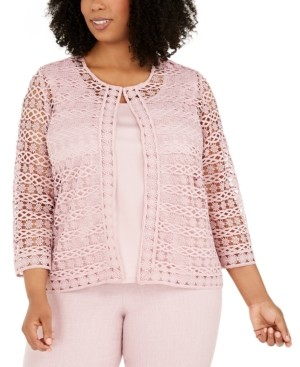 Alfred Dunner Plus Size Primrose Garden Lace Two-For-One Woven Blouse