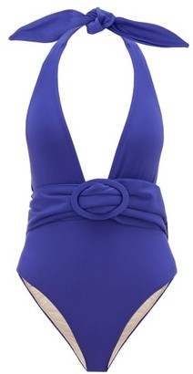 Adriana Degreas Halterneck Belted Swimsuit - Womens - Blue