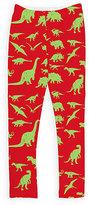 Urban Smalls Red & Green Dinosaur Leggings - Toddler & Girls