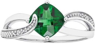 Sterling Silver Lab Created Emerald & Diamond Accent Cushion Bypass Ring