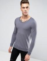 Asos Lightweight Muscle Sweatshirt With Scoop Neck In Gray