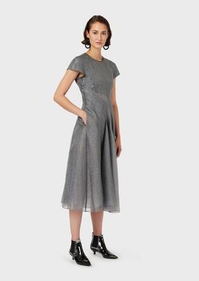 Emporio Armani Organza-Cloque, Full-Skirted Dress