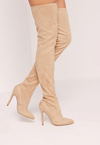 Missguided Nude Faux Suede Pointed Toe Over The Knee Heeled Boots