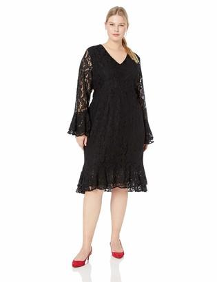 City Chic Women's Apparel Women's Plus Size Long Sleeve lace Dress Black XXL