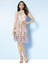 New York & Co. Embroidered Mesh Overlay Fit and Flare Dress