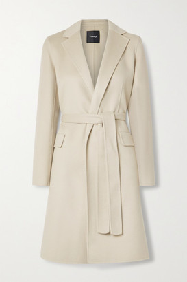 Theory New Divide Belted Wool And Cashmere-blend Coat - Beige
