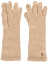 Polo Ralph Lauren embroidered logo gloves - women - Spandex/Elastane/Cashmere - One Size
