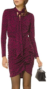MICHAEL Michael Kors Ruched Animal Print Mini Dress