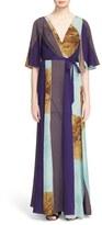 Tracy Reese Print Stretch Silk Wrap Kimono Maxi Dress