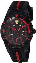 Ferrari Men's 'RedRev' Quartz Stainless Steel and Rubber Casual Watch, Color:Black (Model: 840004)