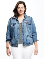 Old Navy Embroidered-Graphic Plus-Size Denim Jacket