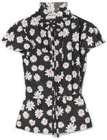 Balenciaga Floral-print Satin Top - Black
