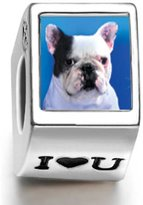 Soufeel 925 Sterling Bull Dog Photo I Love U European Charms Fit European Bracelets