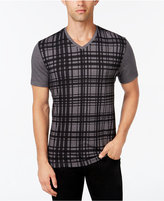 Alfani Men's Plaid V-Neck T-Shirt, Only at Macy's