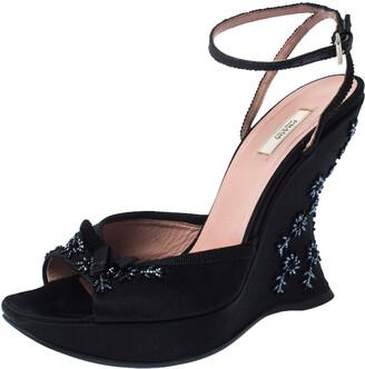 Prada Black Satin Embellished Platform Ankle Strap Sandals Size 37.5