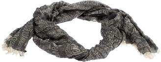 Roberto Cavalli Grey Monogram Pattern Knit Fringe Edge Scarf