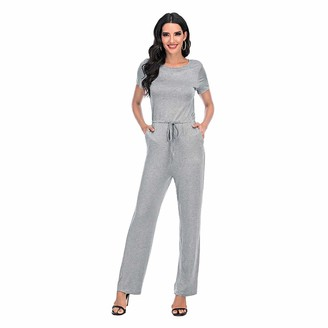 Romacci Women Jumpsuit O Neck Short Sleeve Loungewear Wide Leg Pants High Waist Overall Romper with Side Pockets Back Keyhole Button Closure Grey