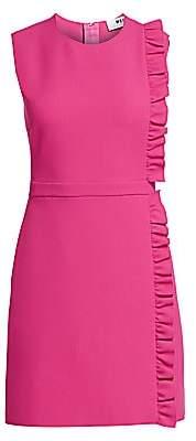 MSGM Women's Sleeveless Side Ruffle Crepe Mini Dress