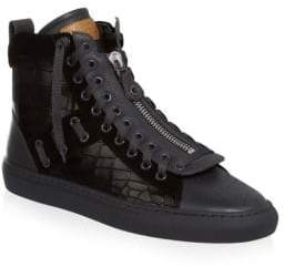 Bally Hekem Croc-Embossed Leather Hi-Top Sneakers