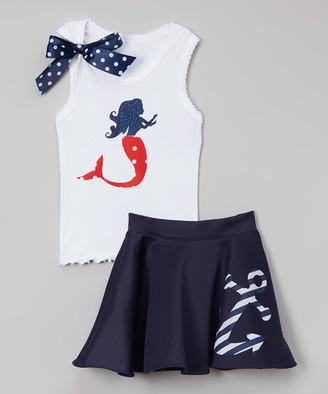 Beary Basics Girls' Casual Skirts MERMAID - White Mermaid Tank & Navy Anchor Skirt - Infant, Toddler & Girls