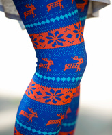 Blue & Orange Fair Isle Leggings