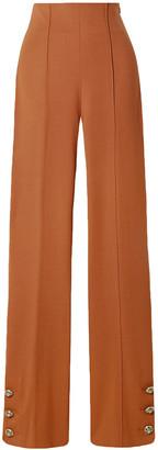 Oscar de la Renta Button-embellished Stretch Wool-blend Twill Straight-leg Pants