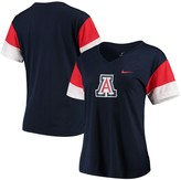 Nike Women's Navy/Red Arizona Wildcats Breathe Team Sleeve Performance V-Neck T-Shirt