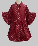 A.T.U.N. Girls' Casual Dresses Maroon - Maroon & White Polka Dot Claudia Shirt Dress - Infant, Toddler & Girls