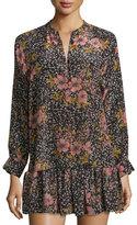 Zadig & Voltaire Long-Sleeve Floral Silk Blouse, Noir