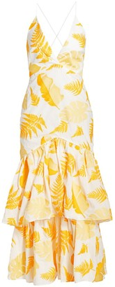 Acler Wray Embroidered Leaf Strappy Ruffled Dress
