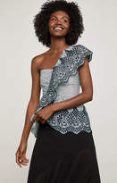 BCBGMAXAZRIA One-Shoulder Embroidered Peplum Top