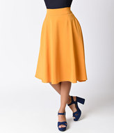 Unique Vintage Retro Style Mustard Yellow High Waist Vivien Swing Skirt