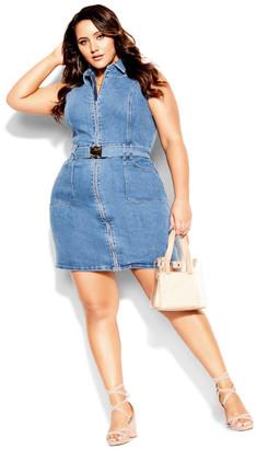 City Chic Sashay Away Dress - mid denim