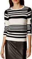 Karen Millen Lace-Detail Striped Sweater