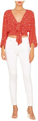 Miss Me Front Tie Smocked Waist Blouse (Red) Women's Clothing
