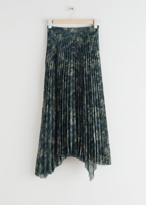 And other stories Pleated Asymmetric Midi Skirt