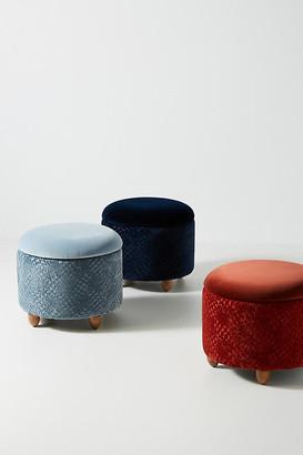 Anthropologie Burnout Velvet Louise Storage Ottoman By in Blue