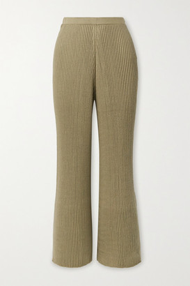 LAUREN MANOOGIAN Column Ribbed Organic Cotton And Mulberry Silk-blend Wide-leg Pants - Army green