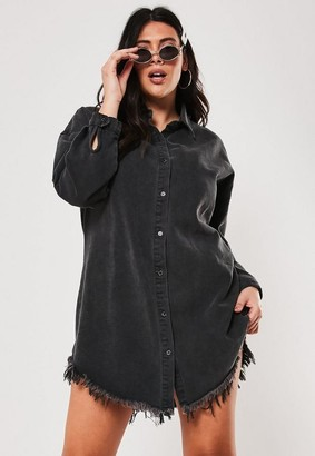 Missguided Plus Size Black Frayed Hem Denim Shirt Dress