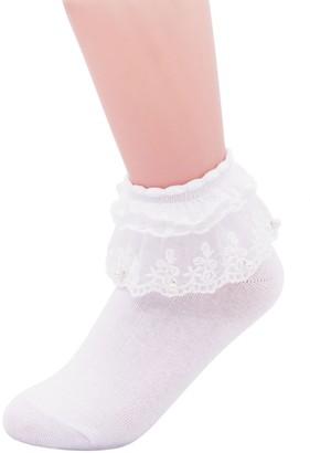 SEMOHOLLI Women Ankle Socks Pearl Lace Ruffle Frilly Comfortable No-Show Cotton Socks Princess Socks Lace Socks - - One Size
