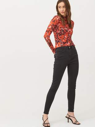 Very Animal High Neck Mesh Top - Red