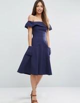 Asos Off Shoulder Dress in Natural Fibre