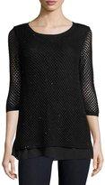 Neiman Marcus Sequined Open-Weave Cashmere Top