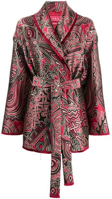 F.R.S For Restless Sleepers Geometric Print Belted Blazer