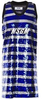 MSGM Appliqued Sequined Striped Tulle Mini Dress