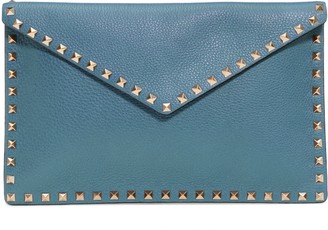 Valentino Large Rockstud Leather Envelope Pouch