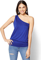 New York & Co. Soho Soft Tee - Shirred One-Shoulder Top