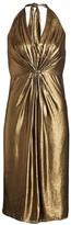 Halston Foil Georgette Halterneck Dress
