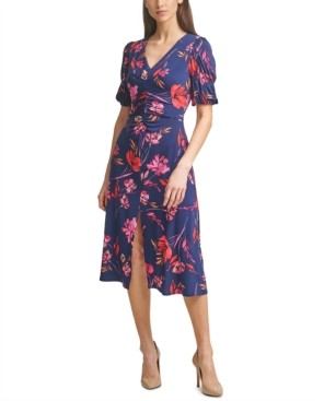 Vince Camuto Ruched Puff-Sleeve Midi Dress