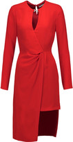 Halston Asymmetric draped crepe dress